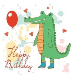 Stylish Happy birthday card with cute crocodile vector