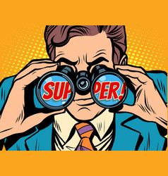 super businessman looking through binoculars vector image
