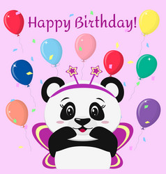 sweet panda in a pink butterfly costume stands vector image