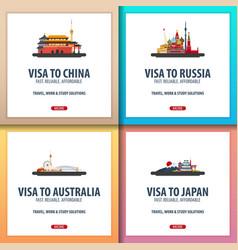 Visa to china russia australia japan document vector