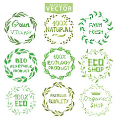 Watercolor laurels wreath setvintage floral frame vector
