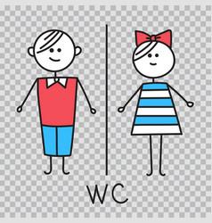 Wc water closet toilet door plate icons vector