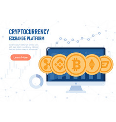 web banner cryptocurrency coin on pc monitor vector image