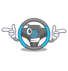 wink steering wheel in the character shape vector image