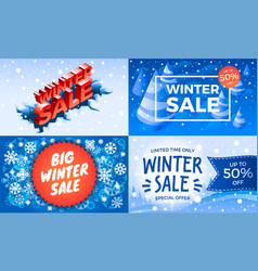 winter sale banner set isometric style vector image