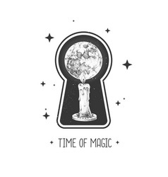 Witchcraft keyhole silhouette with burning candle vector