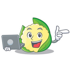 with laptop cauliflower character cartoon style vector image