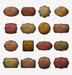 Wooden signs wood isolated brown boards vector