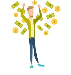 Young caucasian busiessman under money rain vector