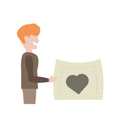 boy holding paper card with heart vector image