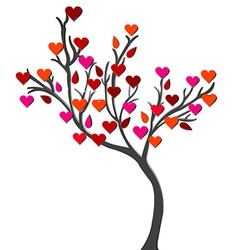 Card with love tree over white background vector image