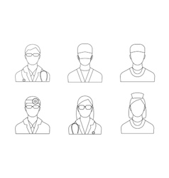 Doctors and Medical Staff Set Thin Line vector image vector image