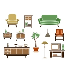 Flat interior and furniture icons vector image vector image