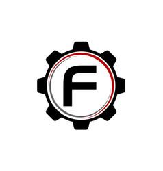 gear solution logo letter f vector image