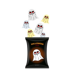 Halloween chips with ghosts Treats for dreaded vector image