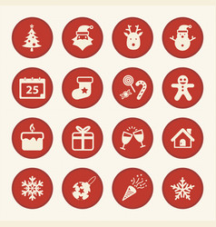 christmas and happy new year icons set vector image