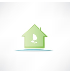 house with a painted leaf on it vector image vector image