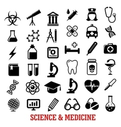 Science and medicine flat icons vector image vector image