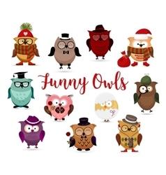 Funny owls set Cute cartoon owls fashion costume vector image