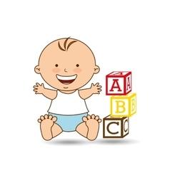 happy baby toy design graphic vector image