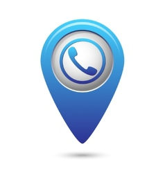 Map pointer with phone handset icon vector image vector image