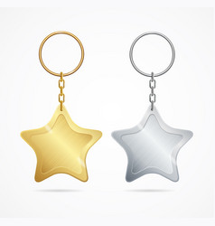 Realistic template metal keychains set vector
