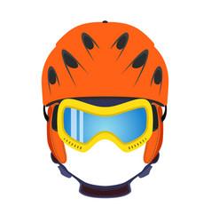 ski helmet snowboard glasses goggles in flat style vector image