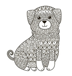 Zentangle dog for coloring page shirt design log vector image