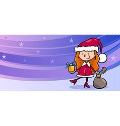 girl santa greeting card cartoon vector image