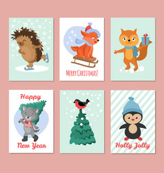 happy new year flyers merry christmas vector image