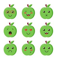 Set collection of flat design emoji green apples vector