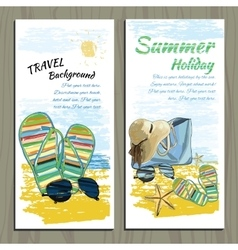 set Travel colorful tropical design Hand drawn vector image vector image