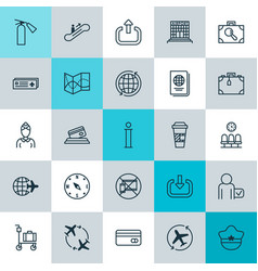 Transportation icons set collection of hostess vector
