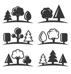tree icons set on white background vector image