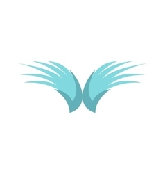 Two blue wing birds icon flat style vector image vector image