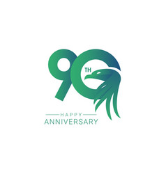 90 th anniversary bird model template design vector