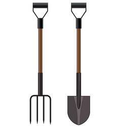a garden pitchfork and shovel vector image