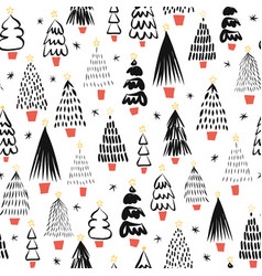 abstract doodle christmas trees black on white vector image