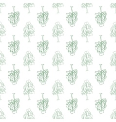 Abstract doodle trees seamless pattern vector