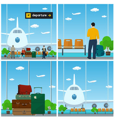 Airport waiting room with people vector