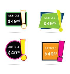 article price offer set in diferent frame color vector image