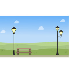 Beauty landscape of garden with lamp vector