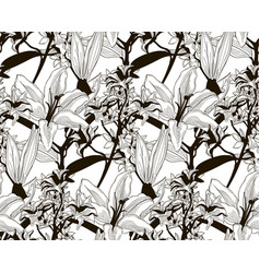 Black seamless pattern with drawn flowers vector