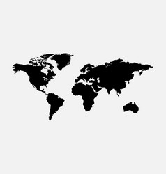 blank grey world map isolated on white background vector image