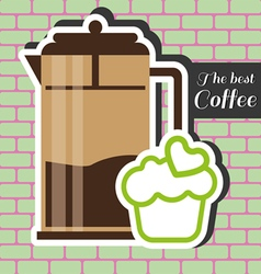 Brown jar of coffee with a green cake vector