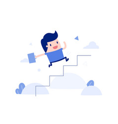 Businessman running up stairs vector