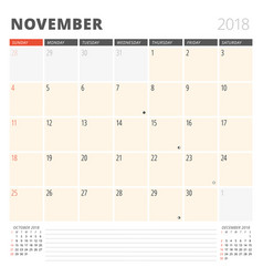Calendar planner for november 2018 design vector