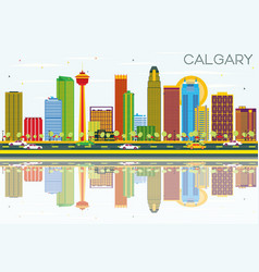 Calgary skyline with color buildings blue sky vector