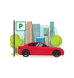 car parked near city flat vector image
