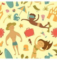Cartoon beach seamless pattern vector image